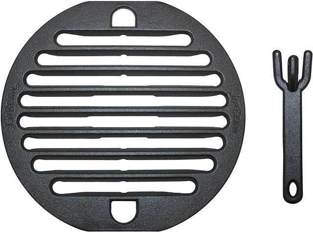 10-inch cast iron grill grate with lifter.