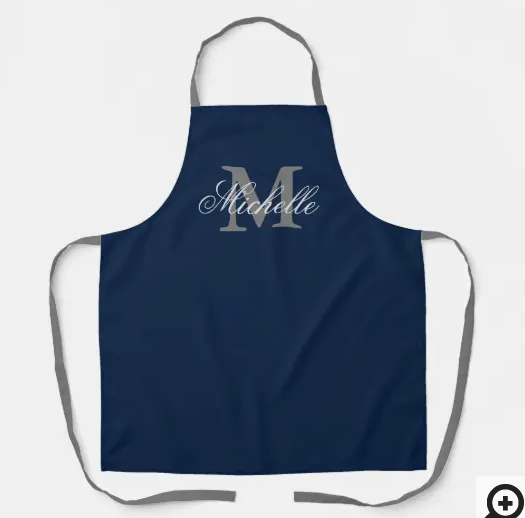 navy blue monogrammed bbg apron