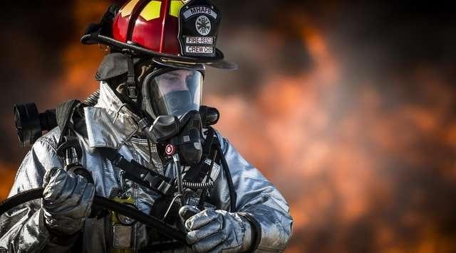 fireman wearing fireproof material